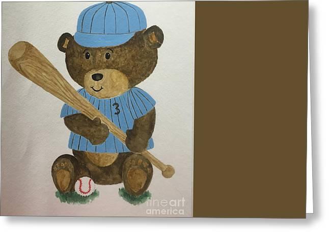 Greeting Card featuring the painting Benny Bear Baseball by Tamir Barkan