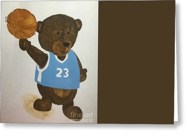 Greeting Card featuring the painting Benny Bear Basketball  by Tamir Barkan