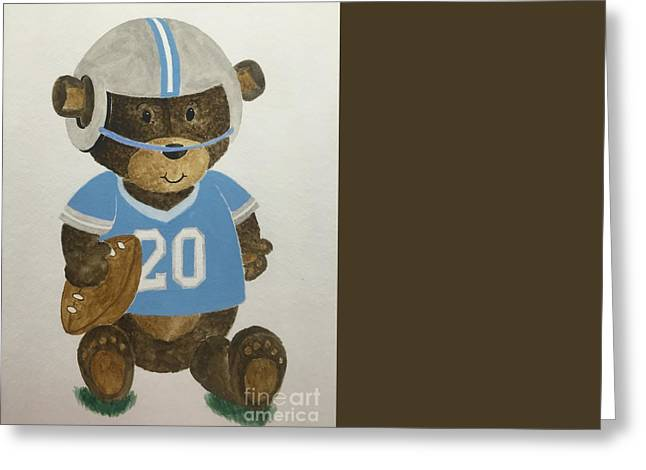 Greeting Card featuring the painting Benny Bear Football by Tamir Barkan
