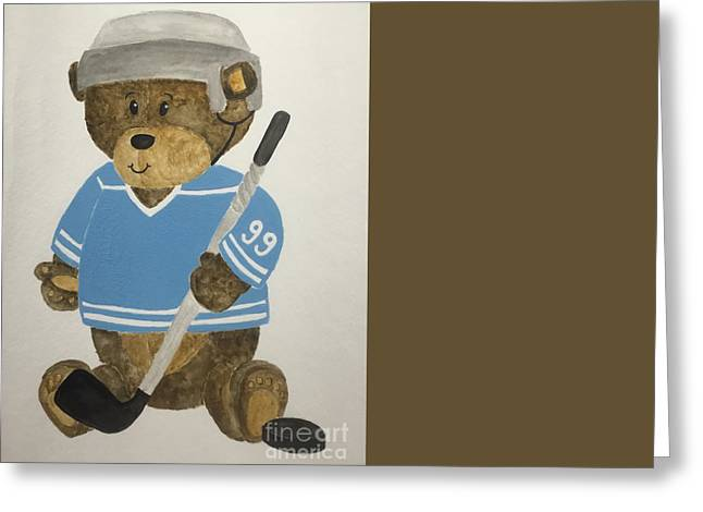 Greeting Card featuring the painting Benny Bear Hockey by Tamir Barkan