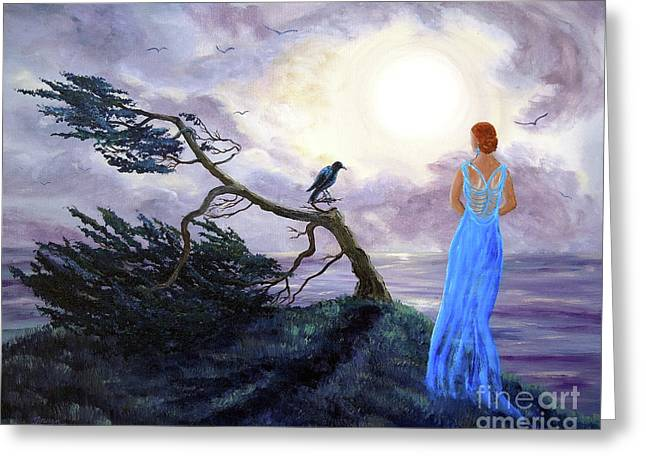 Bent Cypress And Blue Lady Greeting Card by Laura Iverson