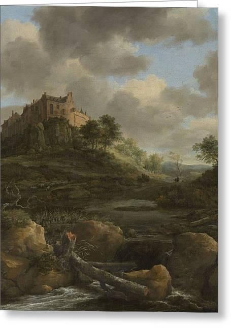 Bentheim Castle Greeting Card by Jacob Isaackszoon van Ruisdael