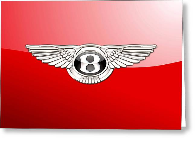 Bentley 3 D Badge On Red Greeting Card by Serge Averbukh