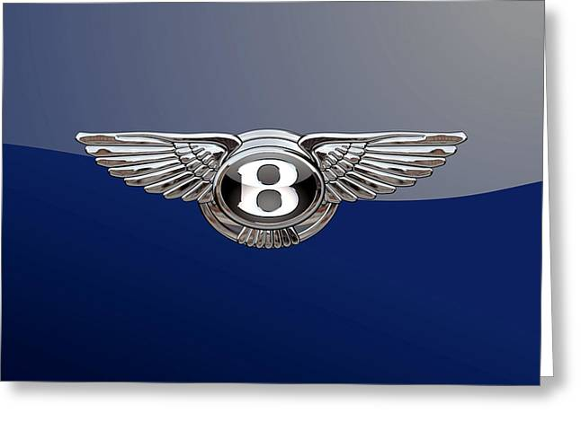 Bentley 3 D Badge Special Edition On Blue Greeting Card by Serge Averbukh