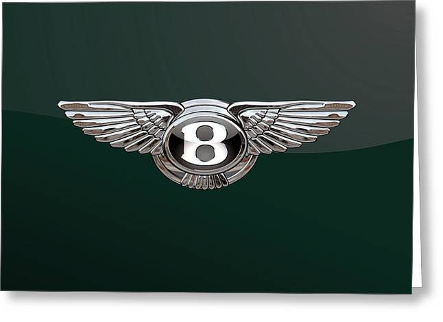 Bentley 3 D Badge Special Edition On Bottle Green Greeting Card by Serge Averbukh