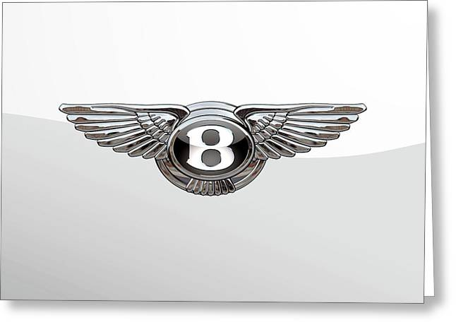 Bentley 3 D Badge Special Edition On White Greeting Card by Serge Averbukh