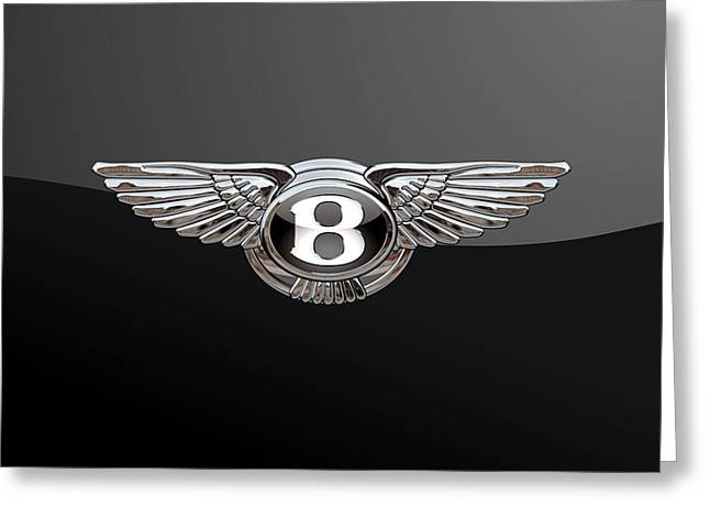 Bentley - 3d Badge On Black Greeting Card