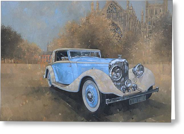Blue Car. Greeting Cards - Bentley by Kellner Greeting Card by Peter Miller