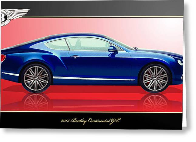Bentley Continental Gt With 3d Badge Greeting Card by Serge Averbukh
