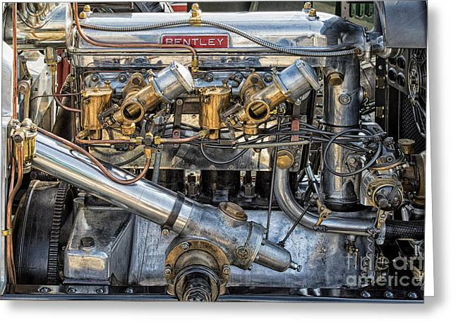 Bentley Engine Greeting Card by Tim Gainey