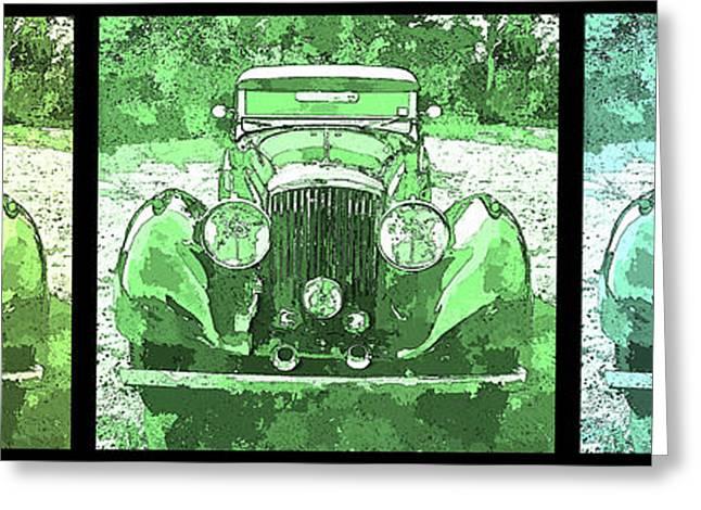 Bentley Green Pop Art Triple Greeting Card