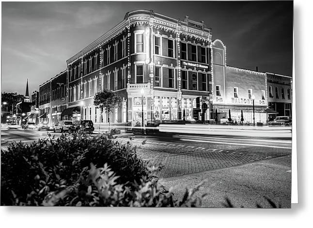 Bentonville Arkansas Cityscape - Black And White Greeting Card by Gregory Ballos