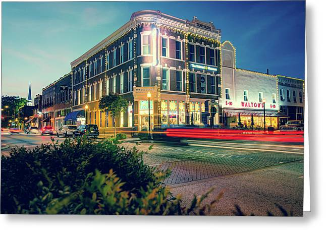 Bentonville Arkansas Downtown Square At Dusk Greeting Card by Gregory Ballos