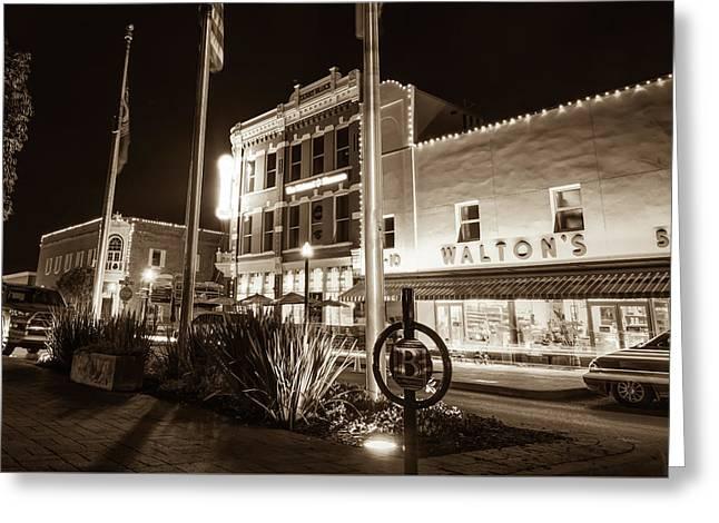 Bentonville Town Square - Sepia Greeting Card