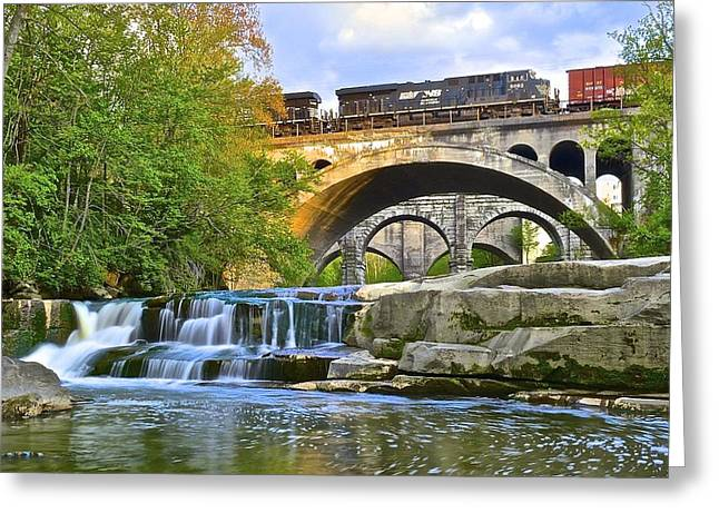 Berea Falls And Train Greeting Card by Frozen in Time Fine Art Photography
