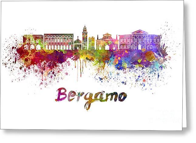 Bergamo Skyline In Watercolor Greeting Card