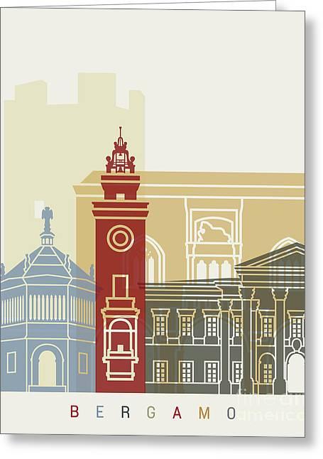 Bergamo Skyline Poster Greeting Card