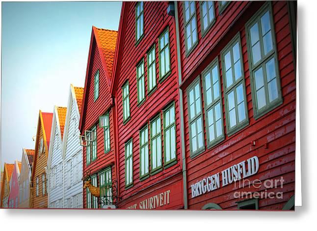 Bergen Brygge Greeting Card by Carol Groenen