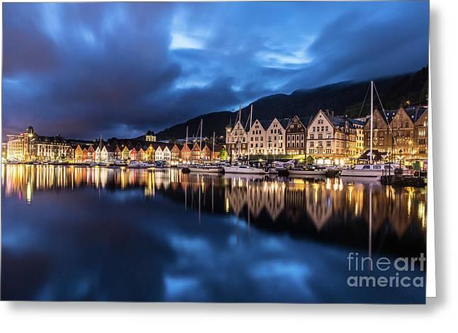 Bergen Harbor Greeting Card