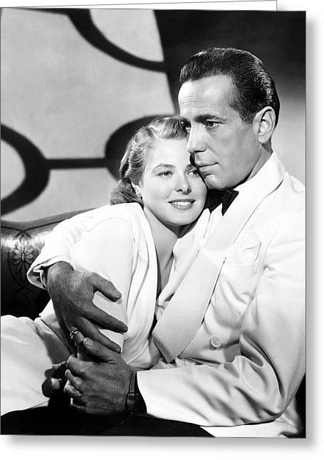 Bergman And Bogart 1942 Greeting Card by Daniel Hagerman