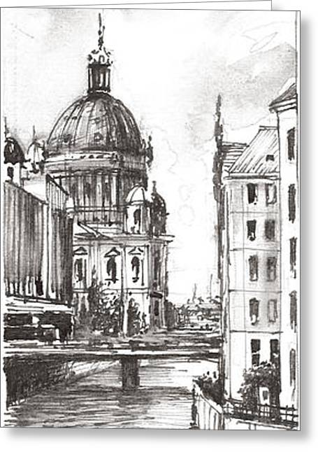 Berlin Black And White View On The Speer Greeting Card by Georgi Charaka