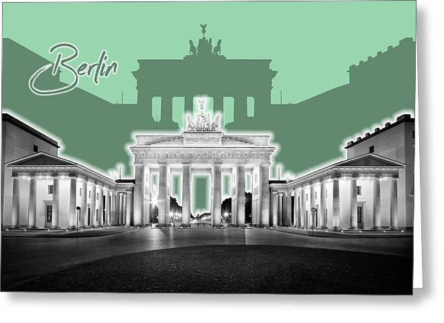 Berlin Brandenburg Gate - Graphic Art - Green Greeting Card by Melanie Viola