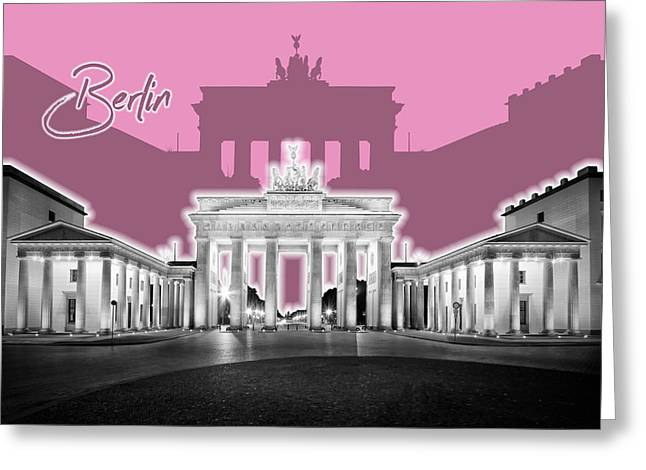 Berlin Brandenburg Gate - Graphic Art - Pink Greeting Card by Melanie Viola