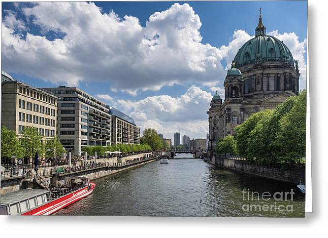 Berlin Cathedral Dom At River Spree  Greeting Card by Frank Bach