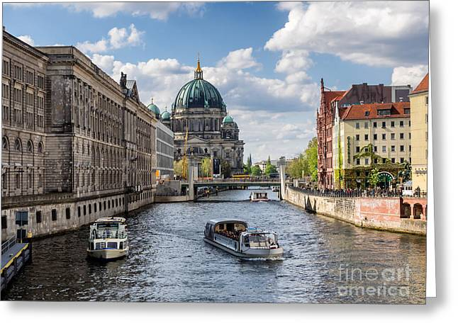 Berlin Cathedral Dom At River Spree From Nikolai Viertel Greeting Card by Frank Bach