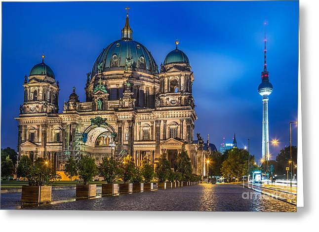 Berlin Cathedral With Tv Tower At Night Greeting Card