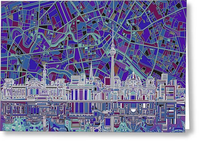 Berlin City Skyline Abstract 3 Greeting Card