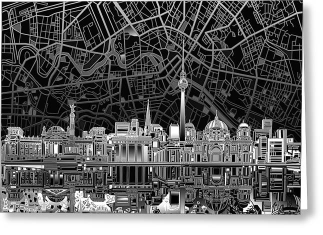 Berlin City Skyline Abstract 4 Greeting Card by Bekim Art