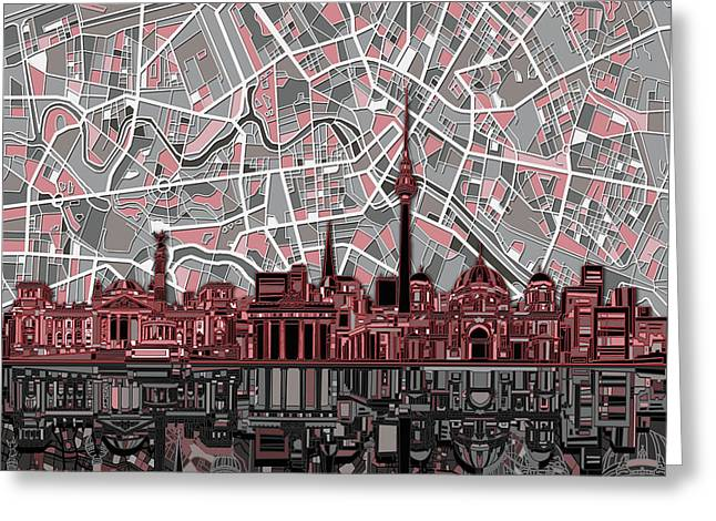 Berlin City Skyline Abstract Greeting Card