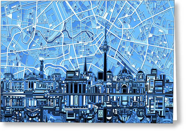 Berlin City Skyline Abstract Blue Greeting Card by Bekim Art