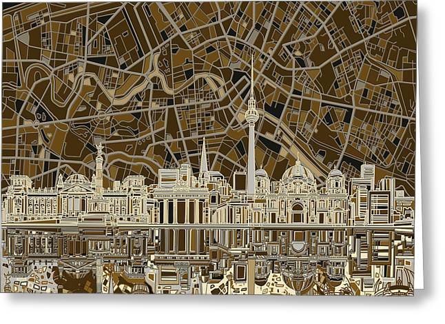Berlin City Skyline Abstract Brown Greeting Card by Bekim Art
