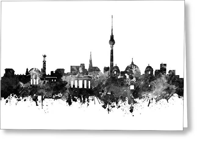 Berlin City Skyline Black And White Greeting Card by Bekim Art