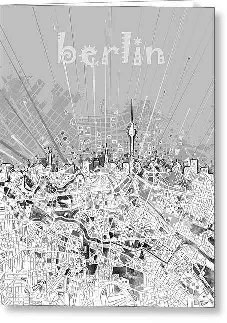 Berlin City Skyline Map 2 Greeting Card