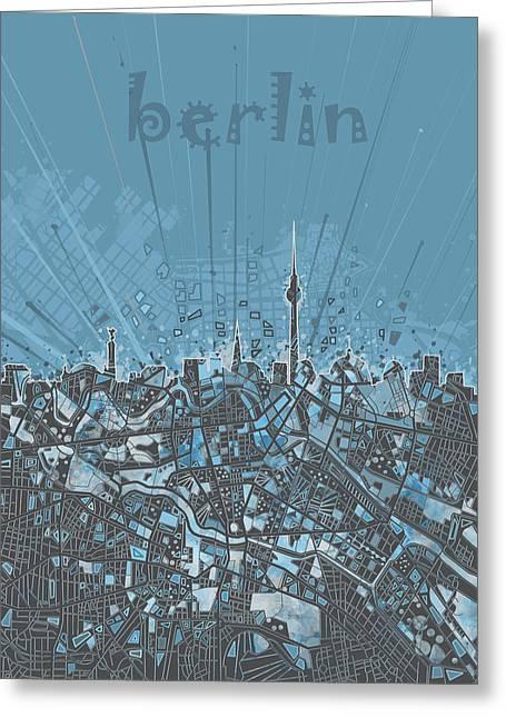 Berlin City Skyline Map 3 Greeting Card