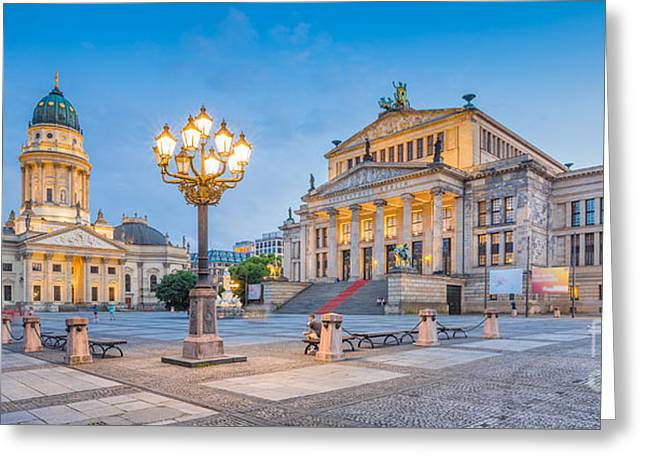 Berlin Gendarmenmarkt Square At Dusk Greeting Card