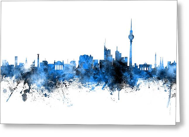 Berlin Germany Skyline Blue Signed Greeting Card