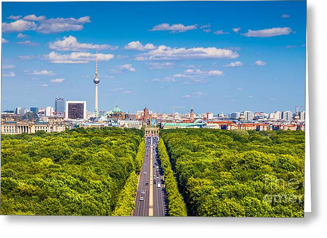 Berlin Skyline With Tiergarten Park Greeting Card