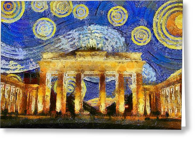 Berlin Starry Night Greeting Card by Sly Morosow