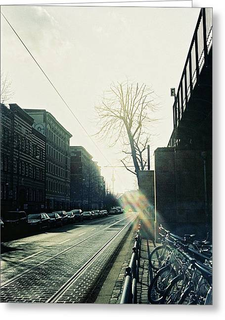 Berlin Street With Sun Greeting Card