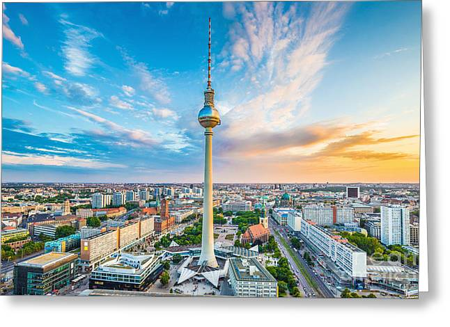 Berlin Sunset Greeting Card by JR Photography