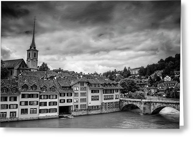 Bern Switzerland In Black And White  Greeting Card