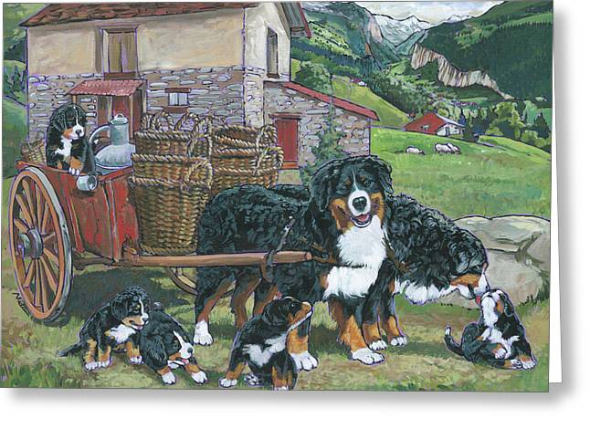 Bernese Mountain Dog Greeting Card by Nadi Spencer