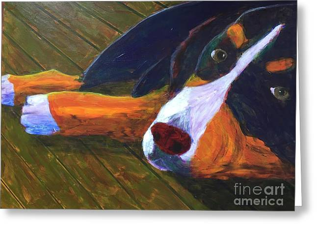 Greeting Card featuring the painting Bernese Mtn Dog On The Deck by Donald J Ryker III