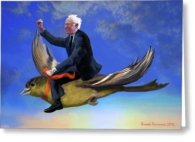 Bernie's Birdie Greeting Card by Brenda Ferrimani