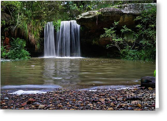 Greeting Card featuring the photograph Berowra Waterfall by Werner Padarin