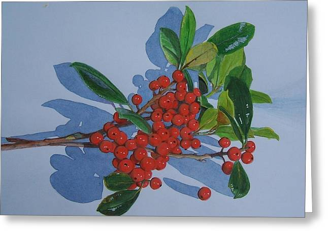 Greeting Card featuring the mixed media Berries by Constance Drescher